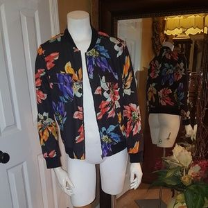 Jackets & Blazers - Shein black long sleeve floral chiffon jacket smal